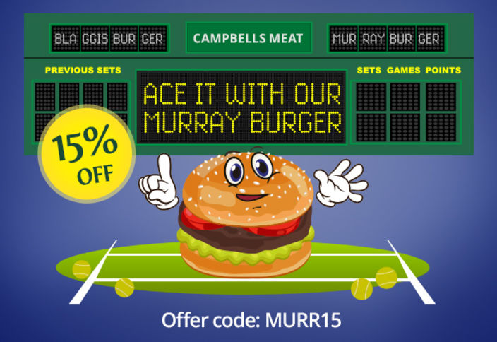 15/Love to the Murray Burger with code MURR15