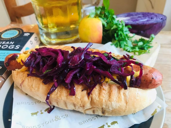 "Oktoberfest Brigston & Co Hot Dogs topped with Red Cabbage & Apple ""Sauerkraut"""