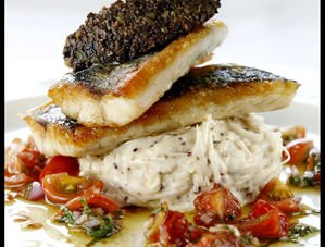 Nick Nairn's Crispy Sea Bass with Celeriac Remoulade, Tomato Salsa and Tapenade