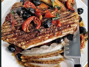 Sticky Roast Pork Belly with Tomatoes & Olives