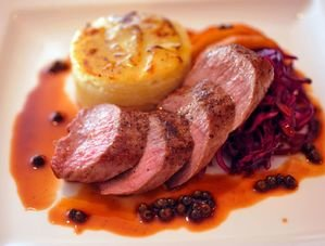 Nick Nairn's Venison with Red Cabbage Slaw Recipe