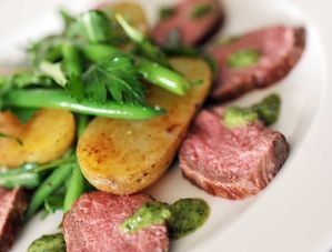 Nick Nairn's Lamb Loin with Rocket, New Potatoes & Salsa Recipe
