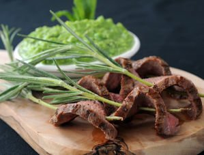 Nick Nairn's Rosemary Lamb Kebabs with Pea & Mint Dip