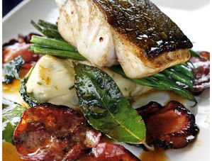 Nick Nairn's Roast Fillet of Market Fish with Chorizo and Black Olive Mash