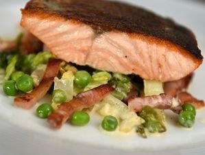 Nick Nairn's Fillet of Salmon with a Pancetta, Pea & Baby Gem Stew
