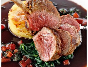 Nick Nairn's Roast Lamb with Spinach, Tomato and Basil Sauce