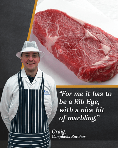 View the Beef Steak craig's scotch beef ribeye steak twin pack online at Campbells Meat, an award winning online butchers